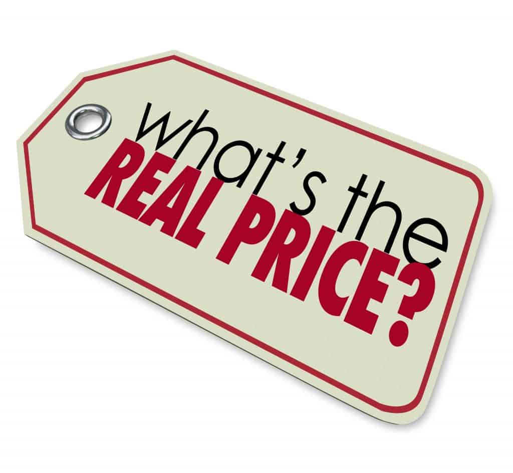 What's the Real Price words on a tag to ask for the actual value or cost of a buy or purchase